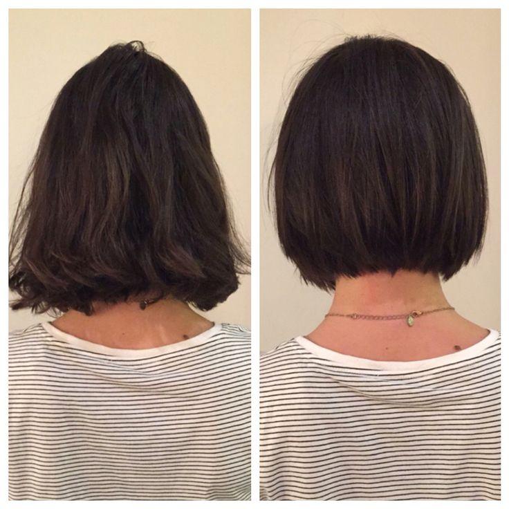 Before and after. Razor Bob. Bob. Haircut. Texture. Textured Bob. Bumble and bumble