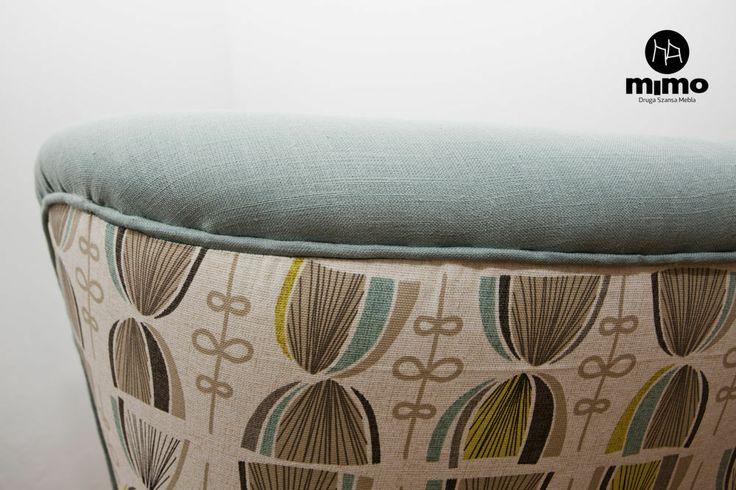 fotel koktajlowy, lata 50'te, wykończenie tkanina bawełniana, Clarke & Clarke