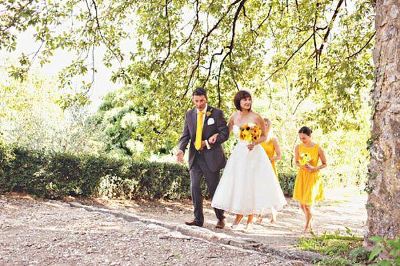 Italian wedding full of Sunshine, Fur Coat No Knickers Wedding Dress.  Photography by www.lauramccluskeyphotography.com
