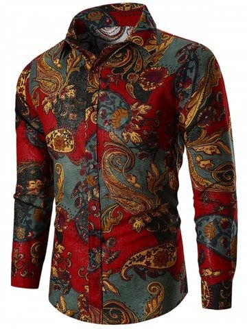 Ethnic Paisley Print Long Sleeve Shirt