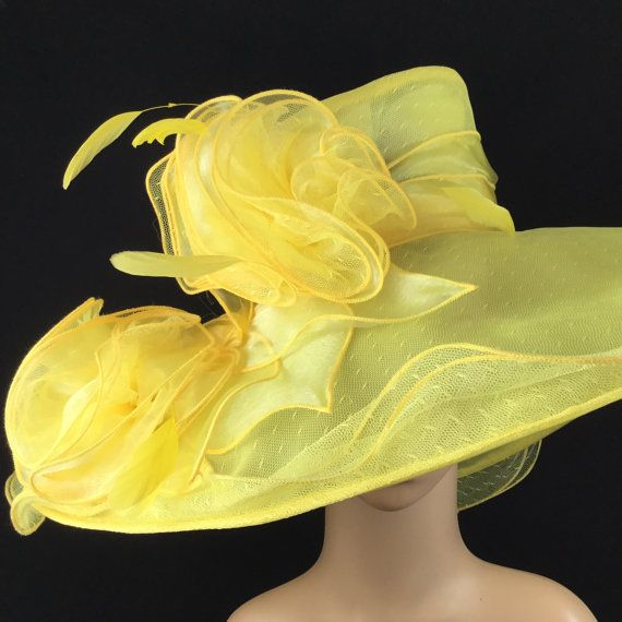 100% Brand New  This gorgeous hat has a 23 inches interior crown circumference with adjustable interior headband.The Brim is 7 inches.It fits all !   Color: Yellow  This is a high quality wide brim hat with millinery wire which could hold its shape.It wont flop in the eyes and face. And it will protect your face and hair from hot sun and wind. Its perfect for outdoor event.  Would be great for Wedding, Bridal Shower, Tea Party, Beach,Cruise,Concert,Evening Wear, Belmont,Ascot, Races, Church…