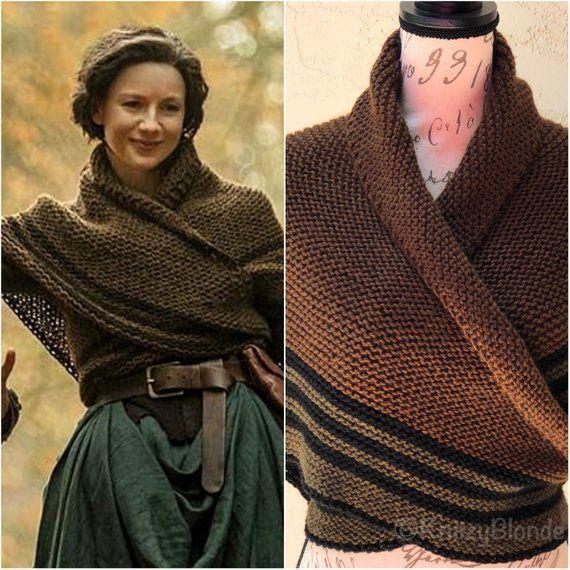 Caroline Chale Claire Outlander Saison 4 Tambours De L Automne Triangle Chale Melange De Laine Fabriqu Outlander Knitwear Outlander Knitting Claire Fraser