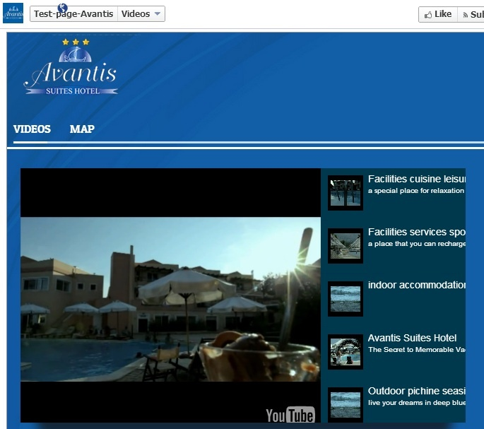 Avantis-hotel : Facebook Fan Page Promotional content Tabs.