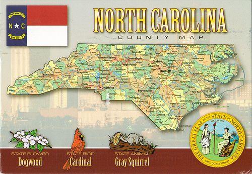 North Carolina State Symbols   North Carolina Map State Symbols Postcard