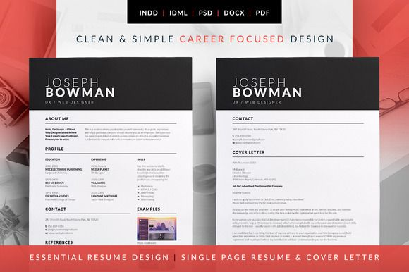 Essential Resume - CV & Cover Letter templates. Available in MS Word | Photoshop | indesign. Joseph by bilmaw creative on @creativemarket