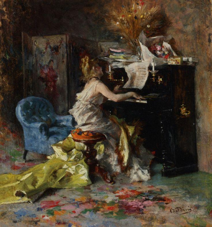 """Giovanni Boldini (1842-1931) Signora al Pianoforte Oil On Panel  13 x 15 cm (5"""" x 5¾"""") Private collection"""