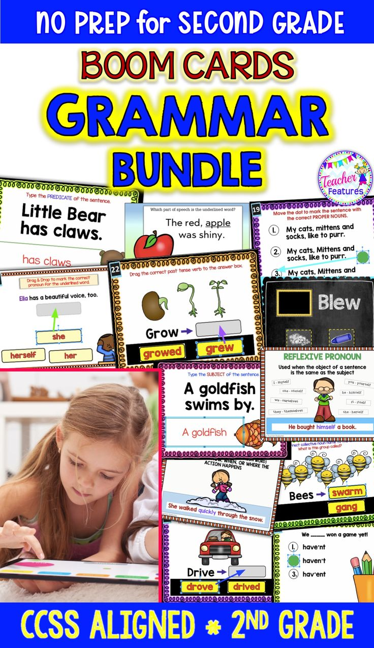 This interactive Bundle features 12 Boom Card Decks with movable pieces (758 Boom Cards!) focusing on 2nd grade Common Core Language standards. Grammar & Language Skill topics included: Subject & Predicate, Reflexive Nouns, Proper Nouns, Nouns, Adjectives, Adverbs, Verbs, Irregular Verbs, Homophones, Possessives and Contractions. #2ndGrade #TeacherFeatures #Grammar #SecondGrade #LiteracyCenter #BoomCards  #BoomLearning #digital #commoncore