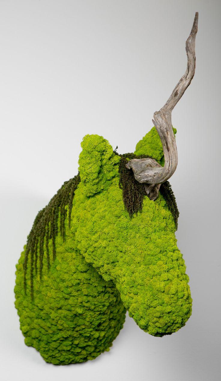 Uni.corn | greenarea  Unicornio decoración natural para pared. hecha en liquen. #animaldecor #escultura #animalhead #cabezadeanimal #animal #homedecor #naturaldecor #unicornio
