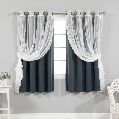 4 Piece Gathered Tulle Sheer And Blackout Curtain Set Blue For