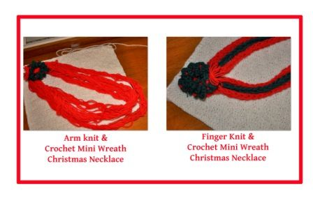 Yarn Craft: How to #ArmKnitting and Finger Knit a #Christmas #Necklace