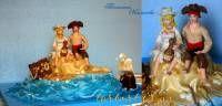"""свадебный тортик """" Пиратская свадьба """" вес 8 кг"""