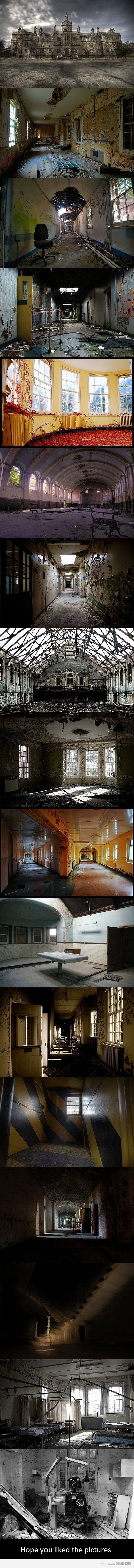 "top one is Denbigh Hospital. The forked corridor and the mortuary is High Royds. The yellow and black striped ""hazard room"" is an art installation at Deva Asylum. The forked staircase is St John's Hospital Lincoln. The dentist's room is Cane Hill."