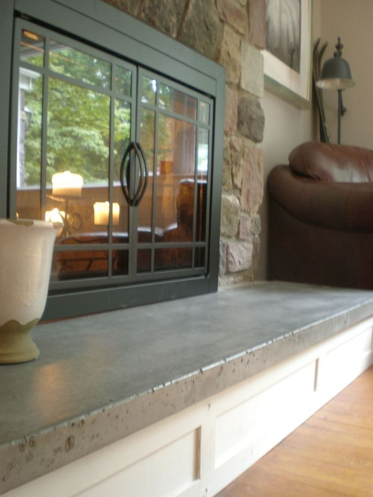 Custom Made Concrete Hearth And Custom Mantel