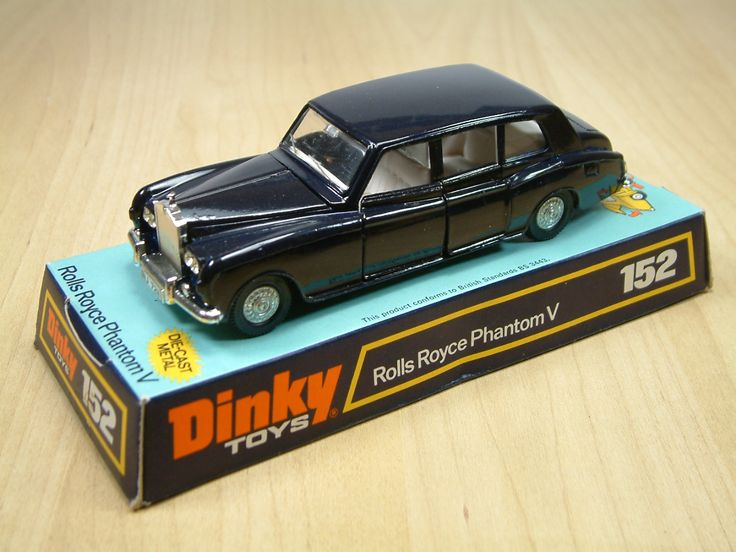 Dinky Toy 152, Rolls Royce Phantom V. Featured opening doors bonnet, some versions included driver passengers. This diecast was produced between 1966 and 1976.