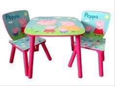Peppa Pig Tavolino in Legno e Seggiole, tavoli e Sedie Disney per Cameretta Bambini - TocTocShop.com - Peppa Pig Table + 2 Chairs Set