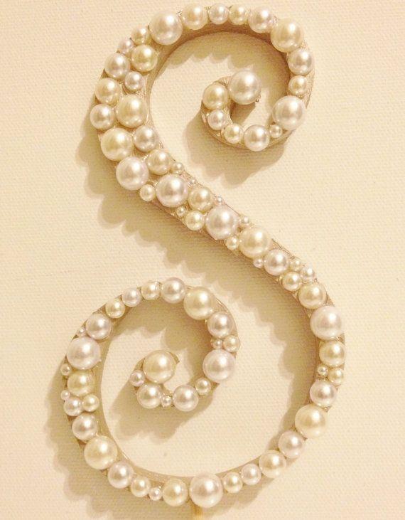 """Pearl Monogram letter """"S"""""""