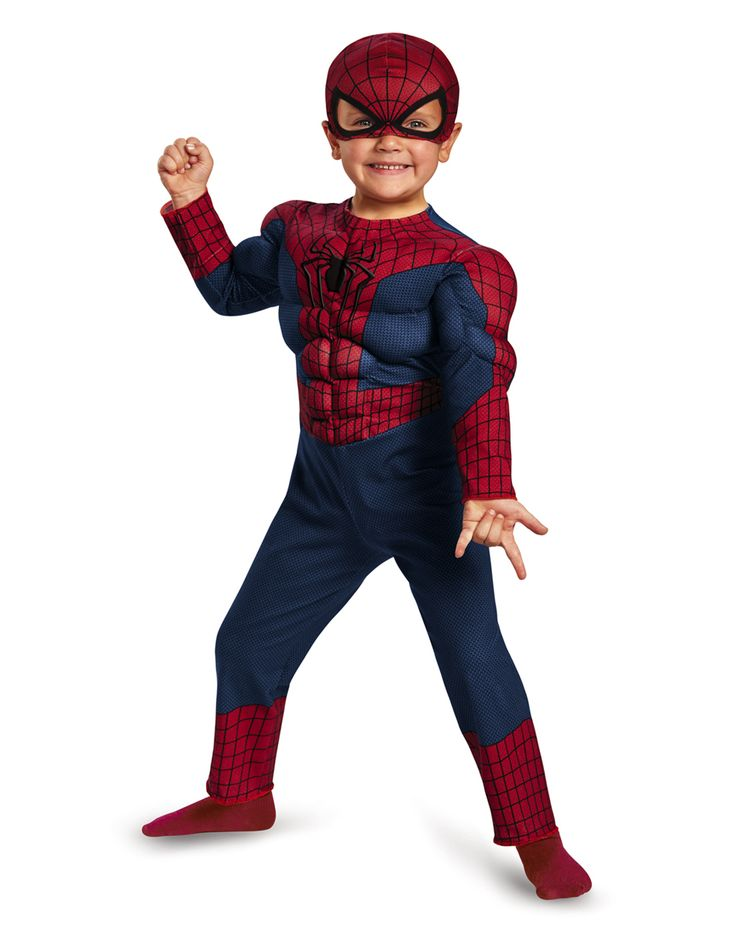 Spiderman Muscle Jumpsuit Toddler Costume at Spirit Halloween - Shoot your web and swing into Halloween when you wear the officially licensed Spiderman Muscle Jumpsuit Toddler Costume. This red, blue and black jumpsuit features muscle torso and arms and comes complete with a character mask. Make it yours for $29.99