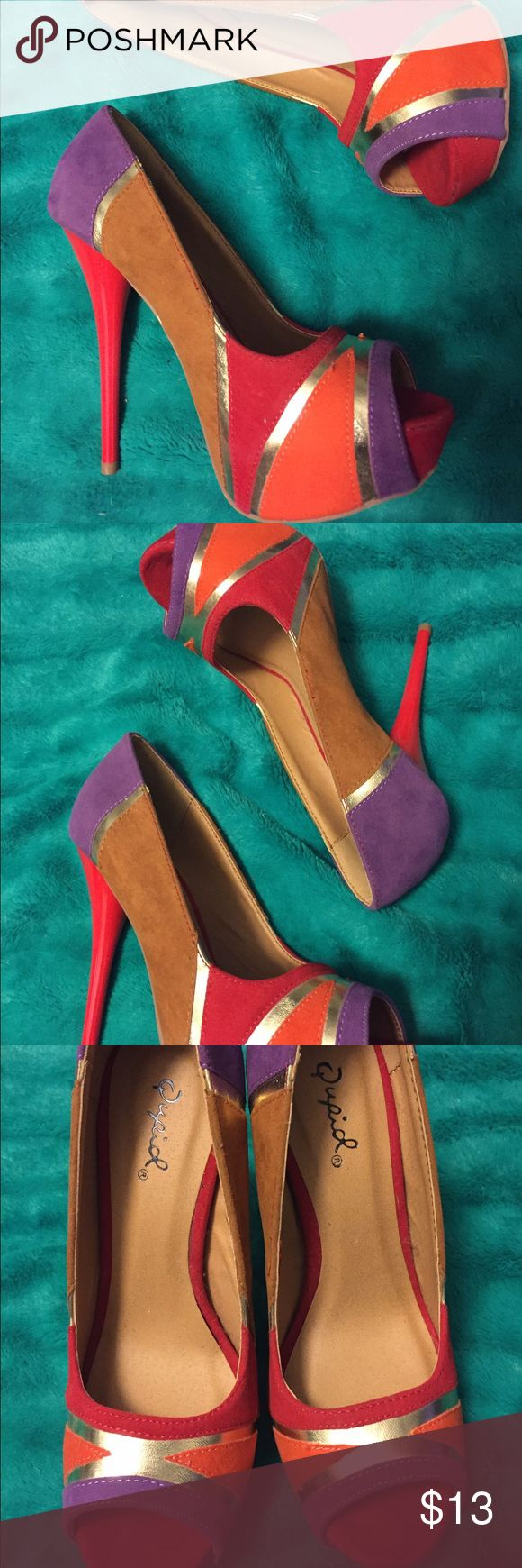 High heels Never been worn. Red, orange, purple, tan and gold Charlotte Russe Shoes Heels
