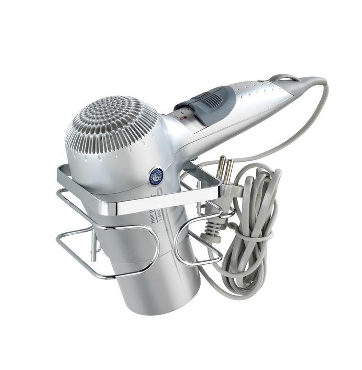 AKI Bricolaje, jardinería y decoración.  Soporte para el secador PREMIUM  Soporte para la sujección del secador de pelo acabado en cromo. 7.95€