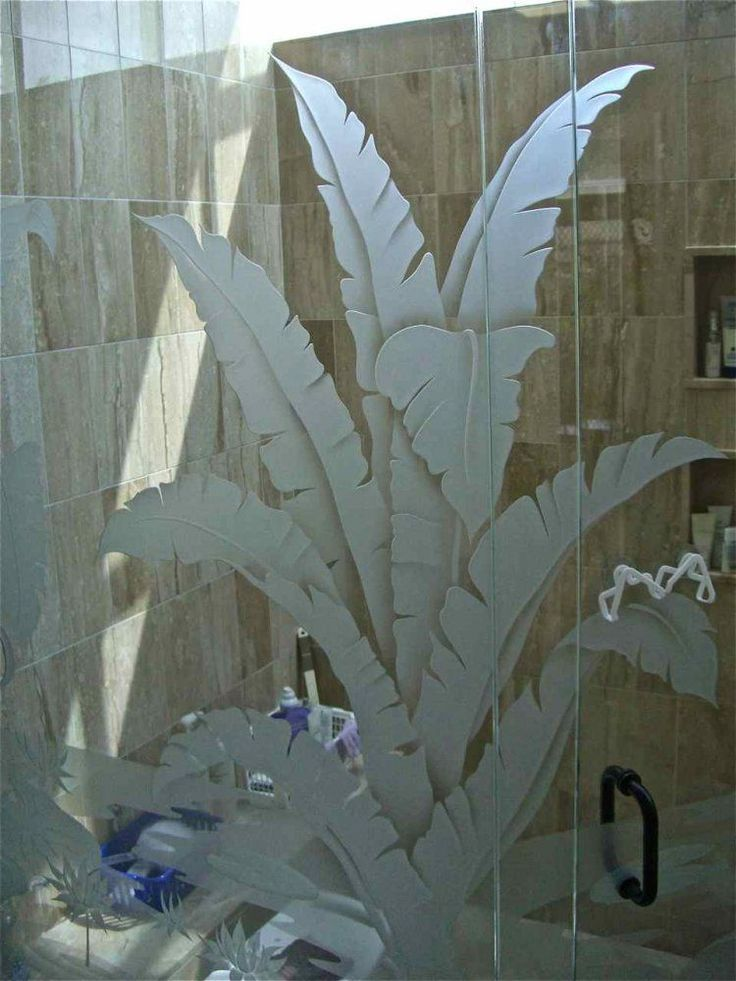 Trpcl Plms Glass Shower Doors Etched Glass Tropical Style Glass shower enclosure with custom glass etching by Sans Soucie! Exquisite designs in any decor.