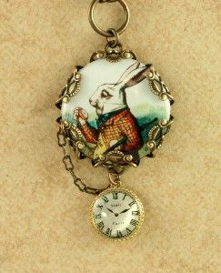 White Rabbit Necklace Alice in Wonderland Pocket... I need this!!