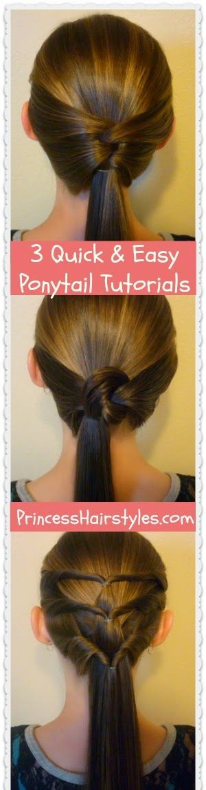 3 quick and easy ponytail hairstyles, video tutorial
