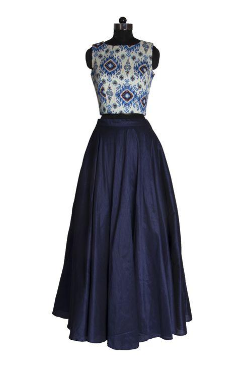 Medium navy blue skirt in a paisley print crop top lehenga set front