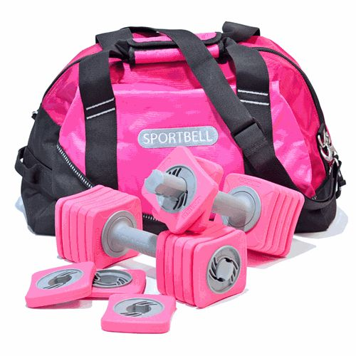 Finally, someone has made adjustable dumbbells that are cute! They come in 6 colors. I want pink! ♥