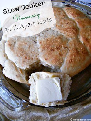Slow Cooker Rosemary Pull Apart Rolls--I've never seen this before. Will try it next time I make soup!