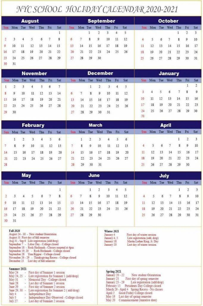 Nyc Schools Calendar 2022.Nyc School Holidays Calendar 2020 2021 Nyc School Calendar School Holiday Calendar School Calendar School Holidays