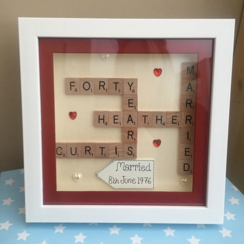 BOXED FRAME SCRABBLE LETTERS WEDDING RUBY SILVER GOLDEN ANNIVERSARY ENGAGEMENT in Home, Furniture & DIY, Celebrations & Occasions, Other Celebrations & Occasions | eBay