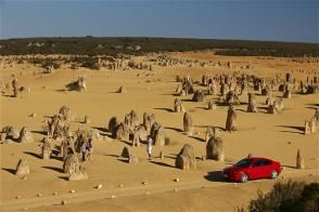 Driving through Nambung National Park