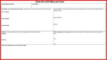 This reflection tool will enable your students to reflect on all 5 Essential Elements of the PYP. It can be used for ANY unit of inquiry. No Prep required - simply print and go! Areas covered: ♦Lines of Inquiry (Knowledge) ♦Concepts ♦Approaches to Learning (Skills) ♦Attitudes ♦Action ~~~~~~~~~~~~~~~~~~~~~~~~~~~~~~~~~~~~~~~~~~~~~~~~~~~~~~~~ You May Also Like...