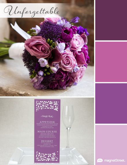 Eggplant Purple, Violet, Plumeria, and Orchid Fall Wedding Color Palette   Wedding Color Trends   MagnetStreet Weddings