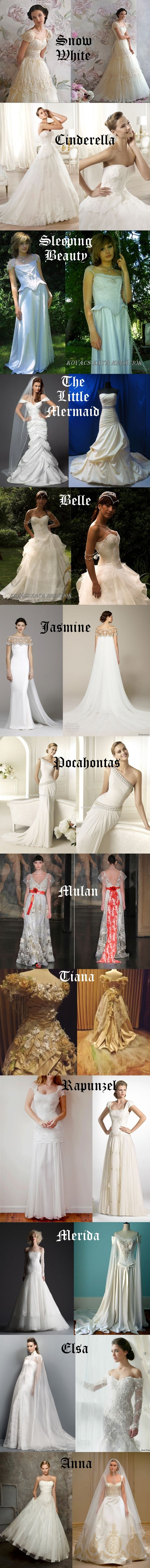 Disney princess wedding dress ideas. Realistic & wearable Disney princess wedding dresses inspiration for all the princesses.