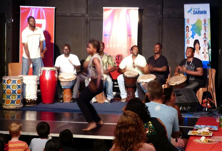 African drummers thump out the entertainment at a DCA community dinner