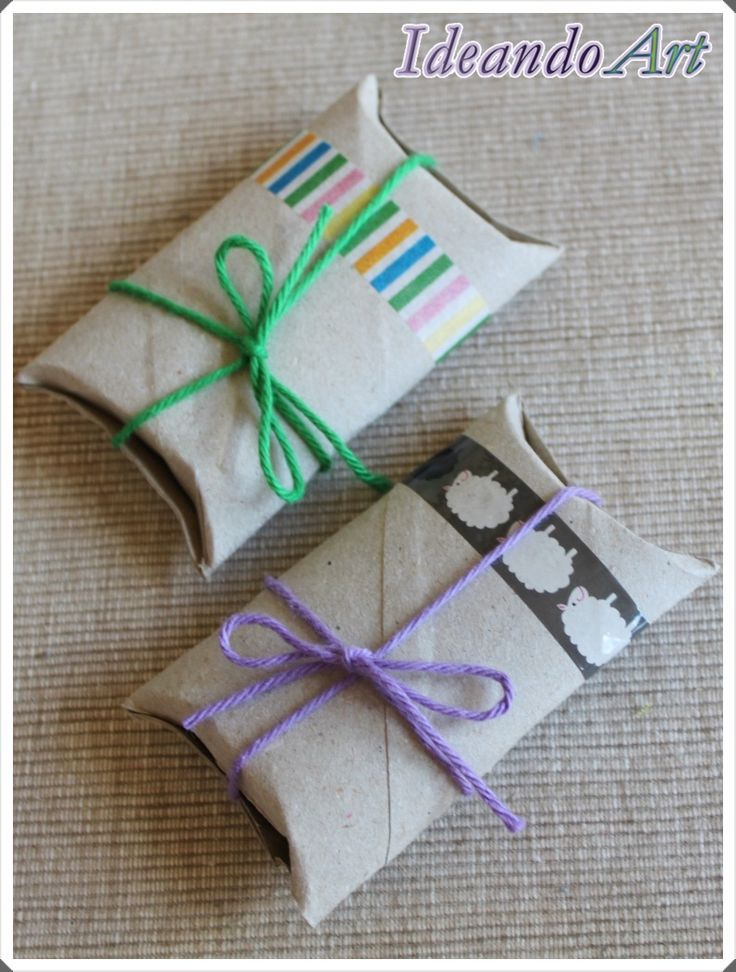 Packaging DIY con rollos de cartón, washi tape e hilos de colores by IdeandoArt
