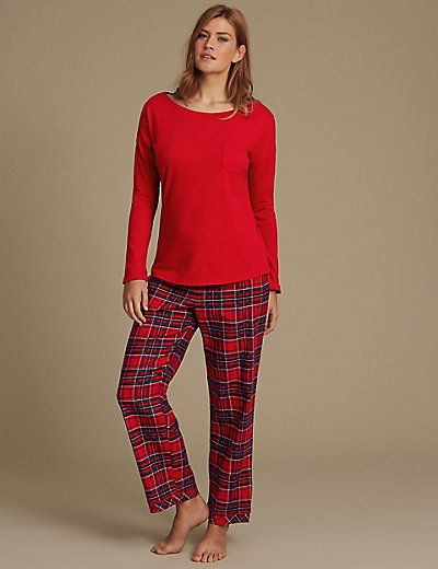 Pure Cotton Checked Long Sleeve Pyjamas size 18
