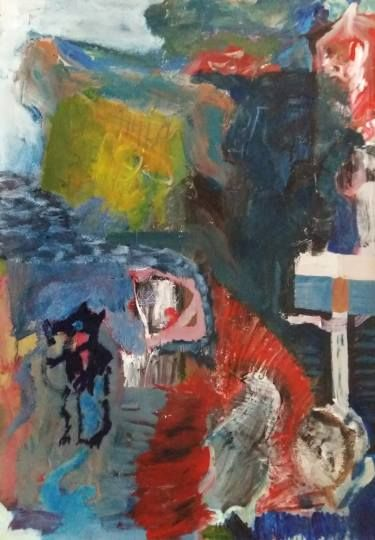 "Saatchi Art Artist Evangelos Papapostolou; Painting, ""wolf eating the fish with the letter delivered from the wise dove and the sea you see"" #art"