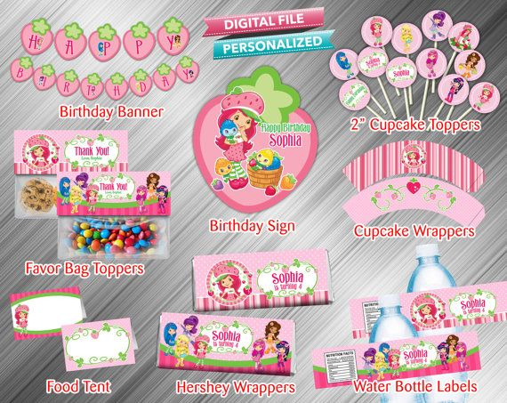 Strawberry Shortcake Printable Party Package by kidspartydiy, $18.99