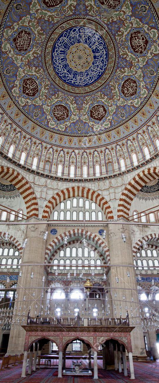 Interior of Selimiye Mosque in Edirne - UNESCO World Heritage Site- Edirne | Turkey