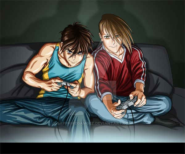 Heero and Trowa- Gamers by SapphireGamgee.deviantart.com on @DeviantArt
