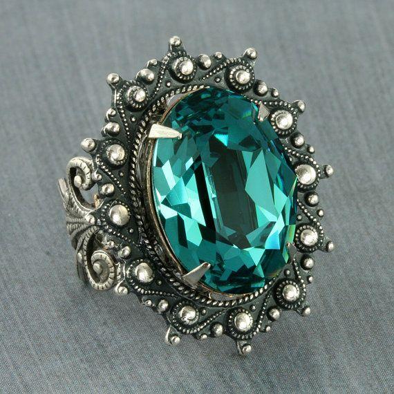 Turquoise Ring Teal Swarovski Crystal Ring Caribbean Blue Ring Steampunk Ring Neo Victorian Ring Gothic Ring Silver Adjustable Filigree Ring