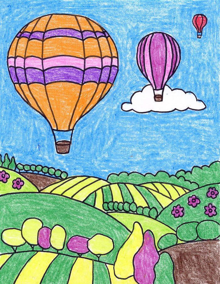 Hot Air Balloons Above Green Fields Easy Sketches To Draw Drawing Colored With Crayons In 2020 Easy Drawings Easy Drawings For Kids Minnie Mouse Drawing
