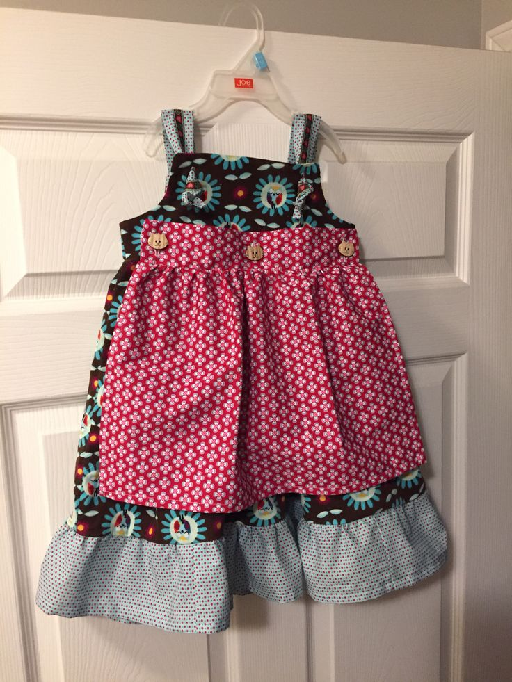 """Little girls dress with apron """"Ruffles and Lace"""" Pattern: McCall's #6387 Fabric: Dress is corduroy from L'oiseau and contrast fabrics are cotton from Funky Monkey Fabrics"""