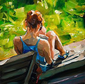 Edward B. Gordon- I like how the colors are deliberately placed on the canvas, resulting in a gestural painting