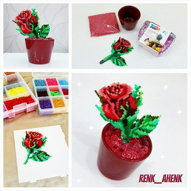 Rose flower hama beads by renk__ahenk