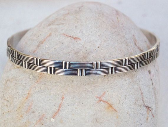 Mens silver bracelet Mens silver cuff Textured mens by SILVERstro