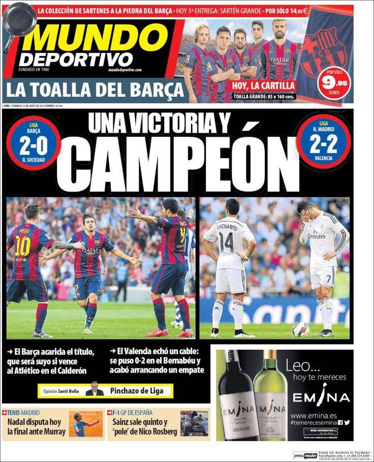 Portada Mundo Deportivo 10/05/2015 Portadas, Mundo