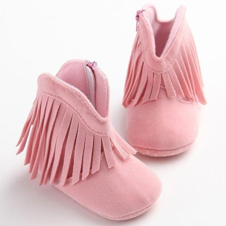 Pre-Walking Solid Fringe Bootie Slippers